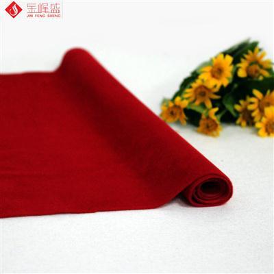 红色针织底长毛植绒布(A03.C1.0019)