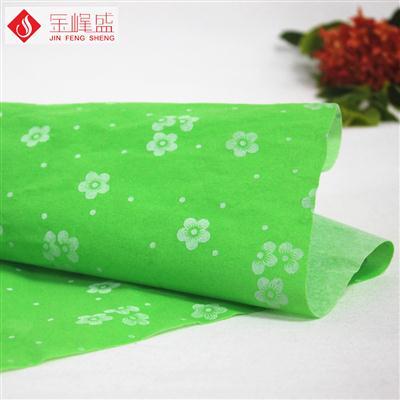 草绿色无纺短毛印花植绒布