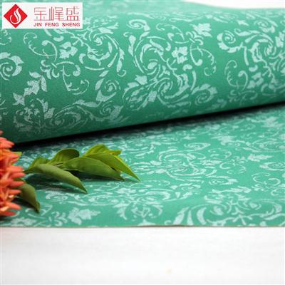 绿色针织底长毛绒印花植绒布
