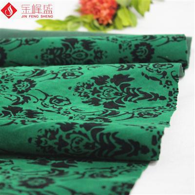 深绿色针织底印花植绒布