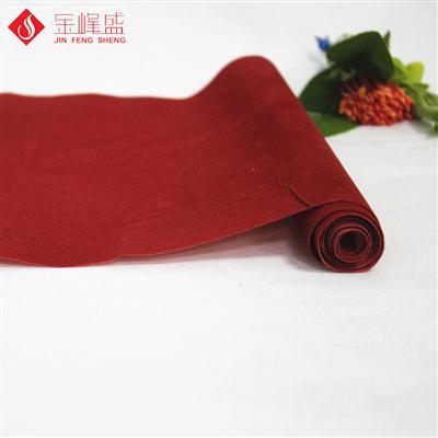 深红同色同底水刺布短毛植绒布(A01.D1.0924)
