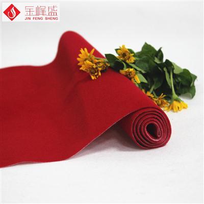 大红色水刺长毛植绒布(A01.C1.1143)