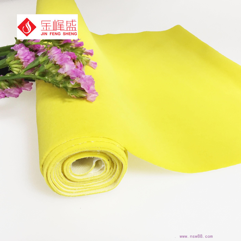 金黄色针织底长毛植绒布 F03.C1.2709