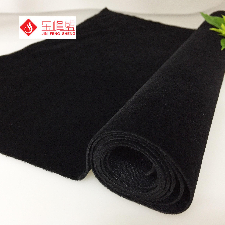 金峰盛 厂家直销 黑色针织长毛植绒布  铁盒、束口袋、酒袋绒布 包装植绒布