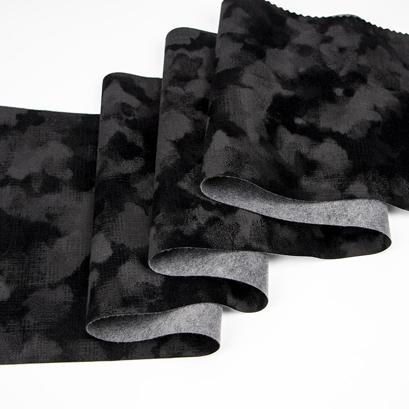 黑白斑马纹印花植绒布