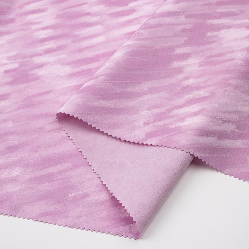 粉红色水刺底揉纹背胶植绒布(A01.L2.1038)